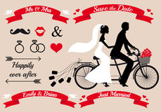 Wedding couple on tandem bicycle, vector set. Wedding set, bride and groom on tandem bicycle, graphic design elements Stock Photos