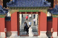 Wedding couple at the Temple of Heaven, Beijing Royalty Free Stock Photography