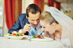 Wedding couple together in cafe having fun Royalty Free Stock Photography