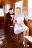 Wedding couple in tramp Royalty Free Stock Images