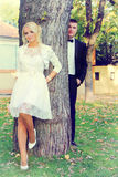 Wedding couple on tree Royalty Free Stock Photo