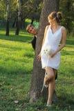 Wedding couple on tree Stock Photo