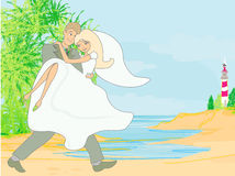 Wedding couple on a tropical beach Royalty Free Stock Photo