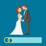 Wedding couple vector flat illustration Royalty Free Stock Photos