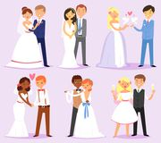 Wedding couple vector married bride or fiancee and bridegroom or fiance characters on wed illustration set of loving man. And woman in weddingdress on marriage Stock Photography