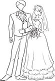 Wedding couple. Vector monochrome picture of a young wedding couple at full length Royalty Free Stock Photography
