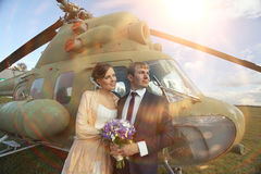 Wedding couple in vintage aircraft royalty free stock photography
