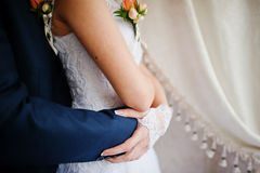 Wedding couple at vintage cafe Royalty Free Stock Photos