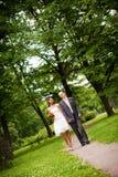 Wedding couple walking royalty free stock photography