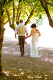 Wedding Couple Walking Away Royalty Free Stock Photography