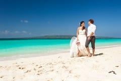 Happy Tropical Wedding Stock Photography