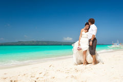 Happy Tropical Wedding Royalty Free Stock Photo