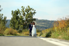 Wedding couple walking. Bride and groom walking at the mountains Royalty Free Stock Image