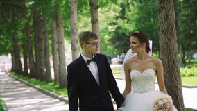 Wedding Couple Walking in a City Park stock video footage