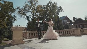 Wedding couple walking in the historic palace. stock footage