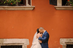 Wedding couple walking. In Lviv architecture Royalty Free Stock Photo