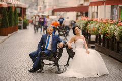 Wedding couple walking Stock Photography