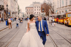 Wedding couple walking Stock Photo