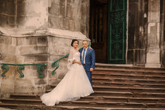 Wedding couple walking Stock Images