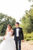 Wedding couple walking  near lake. Royalty Free Stock Image