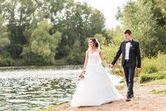 Wedding couple walking  near lake. Stock Photography