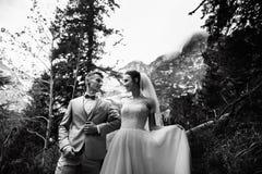 Wedding couple walking near the lake in Tatra mountains in Poland. Morskie Oko. Black and white photo option stock photo