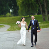 Wedding couple walking in a park Royalty Free Stock Photos