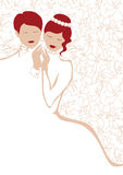 Wedding couple in white. Affectionate wedding couple in white Stock Image
