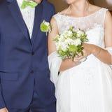 Wedding couple white bridal dress and bleue suit Royalty Free Stock Photo