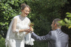 Wedding couple with wild strawberries Stock Photos