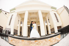 Wedding couple at the winter day Royalty Free Stock Photos