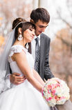 Wedding couple at the winter day Stock Photography