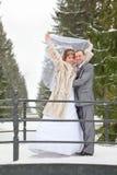 Wedding couple in winter season Royalty Free Stock Photo