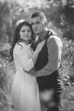 Wedding couple. Young couple embracing on nature background. Wedding. Love Stock Images
