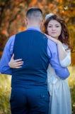 Wedding couple. Young couple embracing on nature background. Wedding. Love Stock Image