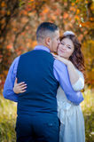 Wedding couple. Young couple embracing on nature background. Wedding. Love Royalty Free Stock Image