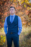 Wedding couple. Young guy in a tie against the background of nature. Wedding Royalty Free Stock Photography