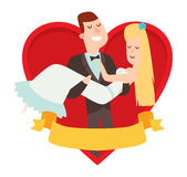 Wedding couples cartoon style vector illustration Royalty Free Stock Photography