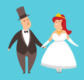 Wedding couples cartoon style vector illustration Royalty Free Stock Photos
