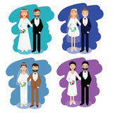 Wedding couples collection. Smiling bride and groom happy pairs vector illustration Stock Images