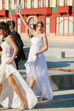 Wedding couples. Married couples walking, Belgrade, Serbia Stock Photography