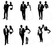 Wedding couples. Set of wedding couples silhouettes Stock Images