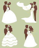 Wedding couples in silhouette Royalty Free Stock Photography