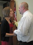 Wedding at the courthouse. A bride and groom getting married at the courthouse Royalty Free Stock Photography