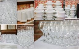 Wedding crockery rentals for catering service - glasses, cups, plates. Wedding crockery rentals for catering service - glasses, cups, plates Stock Images
