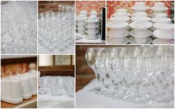 Wedding crockery rentals for catering service - glasses, cups, plates. Wedding crockery rentals for catering service - glasses, cups, plates Royalty Free Stock Photos