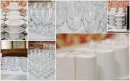 Wedding crockery rentals for catering service - glasses, cups, plates. Wedding crockery rentals for catering service - glasses, cups, plates Stock Photo