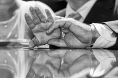 Wedding crossed hands in black and white Royalty Free Stock Photography