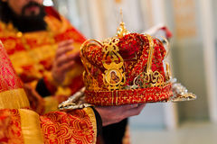 Wedding crown. In the church closeup Royalty Free Stock Image