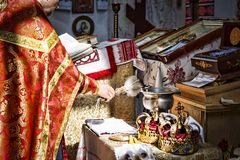 Wedding, church, religious, bride, ceremony, priest, icon, love, celebration, couple,. Wedding crowns. Wedding crown in church ready for marriage ceremony stock image